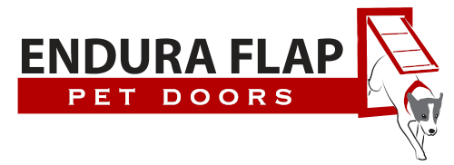 endura flap written in black text above red text reading pet doors with dog jumping through a pet door